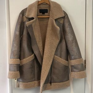 French Connection Silver Metallic Shearling Coat